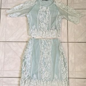 For Love and Lemons Mint Lace Set